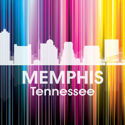 Memphis TN Vertical-Lined Rainbow Print - Birthplace of the blues and home to Elvis Presley, the city of Memphis shines bright in a rainbow of color. Show off a little city pride with the digital and photographic layers on this mixed-media art.