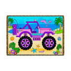 Loomcraft  New Speed Limit - Kids Woven Throw Blanket  Cute Cruisers Pink Jeep - These generously sized throws look exceptional!  They are an easy care