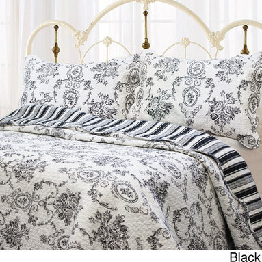 None - French Medallion 3-piece Quilt Set and Optional Sham Separates - As refreshing as a morning stroll,the French Medallion quilt and shams infuse the room with classic elegance. The set features an ornate quilting pattern that evokes the intricate artistry of vintage patterns on soft,pure cotton.