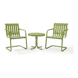 Crosley Furniture - Gracie 3 Piece Metal Outdoor Conversation Seating Set - 2 Chairs and Side Table - Sturdy Steel Construction. Easy To Assemble. UV Resistant. Indoor/Outdoor Construction. Variety of Colors to Match any decor. Non-Toxic Powder Coated Finish. Assembly RequiredPrepare to be swept back in time in the new Gracie conversation set from Crosley.  This three piece set features two of our retro-inspired Gracie chairs, designed to gently bounce away the frustrations of your day.  Made of durable steel, the chair is expertly powder coated to withstand whatever the elements can throw at it. A matching metal table completes the set.