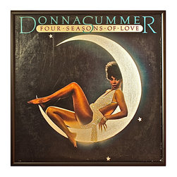 """Glittered Donna Summer Four Seasons of Love Album - Glittered record album. Album is framed in a black 12x12"""" square frame with front and back cover and clips holding the record in place on the back. Album covers are original vintage covers."""