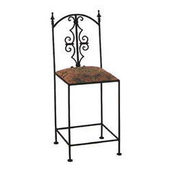 "Grace - Gothic Counter Stool - Constructed of wrought iron, the Gothic counter stool comes with a wide choice of fabrics and color. Shown here in black with a tapestry seat, this stool will be a lovely addition to any kitchen. Features: -Painted according to your choice of metal finish . -Ships fully assembled . -Wrought iron. -Seat height: 24"".. -Dimensions: 16"" W x 19"" D x 44"" H . -Suited for Residential use only About Grace Collection: Grace Manufacturing is a metal and wrought iron furniture manufacturing company located in Rome, GA. The company has been in business for 25 years and continues to employ skilled artisans and craftsmen. In addition to their state of the art manufacturing equipment they still assemble and finish many products by hand. Many items in the Grace Collection are fully hand made or hand painted. With products ranging from barstools, counter stools, and dinettes to wrought iron beds, hanging potracks, bakers racks and more, Graces line meets all professional and home needs. By implementing unique styles and ideas to traditional products, Grace has created an exceptional balance between creativity and practicality. Their design styles range somewhere between whimsical, neo classic and traditional, thus creating a truly astonishing decor for any inside space."