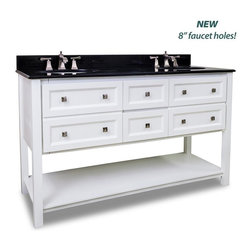 "Hardware Resources - Elements Adler Vanity with Preassembled Top and Bowl in Painted White - This 60"" wide MDF double vanity features a contemporary design with clean lines sleek White finish and complementary satin nickel hardware. False front drawers open to reveal two large cabinets two center drawers equipped with full extension slides and the open bottom shelf provide ample storage. This vanity has a 2CM black granite top preassembled with two H8810WH (17"" x 14"") bowls cut for 8"" faucet spread and corresponding 2CM x 4"" tall backsplash."