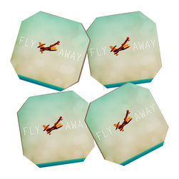 Happee Monkee Fly Away Coasters, Set of 4 With Bamboo Holder - Say goodbye to water rings on your furniture and hello to the stylish solution: DENY Designs' Coaster Set. Available in a set of four, you can also opt for the coaster tray to house the set or go the a la carte route. Either way, your glasses are going to get a fun drinking companion!