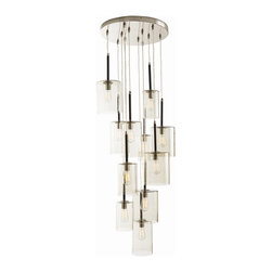 Arteriors - Duchess Chandelier - A great way to make a statement in your home is with bold lighting that doubles as beautiful art. The 12 smoky glass cylinders in this chandelier hang elegantly from a polished nickel ceiling plate and cast layers of soft light. Go with Edison bulbs as shown here, or have some fun with colored bulbs for a festive look. Either way, you'll be admiring this piece for years to come.