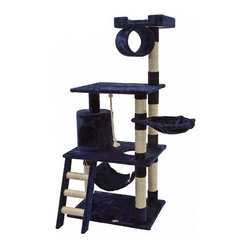 """Go Pet Club - 62"""" Cat Tree - Features: -Cat tree.-Covering material: Faux fur.-Board Material : Pressed wood.-Number of rope: 1.-Number of basket: 1.-Number of ladder: 1.-Posts covered by natural sisal rope.-Condo diameter: 13"""".-Easy to assemble with step by step instruction and tools included.-The 62 Cat Tree from Go Pet Club is a multiuse play area for your cat to scratch, stretch, exercise, climb, run, romp, and relax for all of their nine lives. The fun starts on the faux fur covered ground level, where supporting columns pull double duty as sisal-covered scratching posts. It's just a short pounce for your cat to the hanging hammock that is made for a quiet catnap. Your cat can jump or climb the smartly sisal-covered ladder rungs to reach the next tier. There you cat has the choice of lounging in the basket or curling up in the cozy 12.5 high by 10.5 diameter kitty condo. If they're not quite ready for a nap, they can take a few swings at the thick knotted rope. On the third level, your cat will find a sturdy platform for them to stretch out. The fourth level finishes up with a climb-able hidey hole and a 12.25 by 12.25 lookout perch 62 above the ground where they can watch over their domain. Available in black, blue, brown and beige, there is sure to be a 62 Cat Tree that will work with your home d cor. The 62 Cat Tree has a 38 by 27 footprint..-Distressed: No.Dimensions: -Base board dimensions: 26"""" W x 19"""" D.-Top perch dimensions: 2.75"""" H x 13.25"""" W x 13.25"""" D.-Overall dimensions: 62"""" H x 38"""" W x 27"""" D.-Overall Height - Top to Bottom: 62.-Overall Width - Side to Side: 62.-Overall Depth - Front to Back: 27.-Overall Product Weight: 42 lbs."""