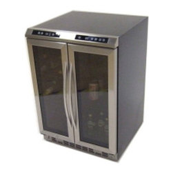Avanti - Side-by-Side, Dual Zone Wine Cooler, Black Cabinet with Glass Door and Stainless - Features:
