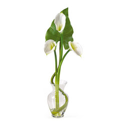 Nearly Natural - Nearly Natural Calla Lilly Liquid Illusion w/Leaf Silk Flower Arrangement in Cre - Treat yourself and your home to the classic beauty of calla lilies. This calla lily silk arrangement features three brilliantly arranged stems. Delicate and graceful this gorgeous item stands 24 inches; tall and comes in your choice of 3 charming colors: Cream, gold, and pink. One deep green leaf was added as a perfect finishing touch as it stands boldly behind the lilies. This item sits nestled in a classic glass vase with artificial water. Incredibly elegant, this silk calla lily arrangement is made to enhance any setting. Color: Cream, Height: 24 inches.