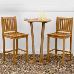 3-Piece Teak Bar Table Set - Create a charming pub atmosphere on your backyard patio or deck with this beautiful 3-Piece Teak Bar Table Set. The set includes a tall bar top table and two matching chairs.