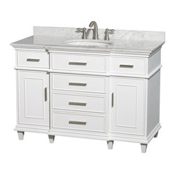 Wyndham Collection - Berkeley Bathroom Vanity in White, White  Carrera Top, White Sink, No Mirror - If your bathroom's asking you for a facelift, the Berkeley is a worthy choice. At once elegant, classic and contemporary, the Berkeley vanity lends an air of sophistication and charm to any bathroom, from a Soho penthouse to a rustic country home. Carefully hand built to last for decades and finished in Dark Chestnut or White, this solid wood vanity has counter options to compete the timeless look.