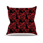 "Kess InHouse - Mydeas ""Sweetheart Damask Black & Red"" Pattern Throw Pillow (20"" x 20"") - Rest among the art you love. Transform your hang out room into a hip gallery, that's also comfortable. With this pillow you can create an environment that reflects your unique style. It's amazing what a throw pillow can do to complete a room. (Kess InHouse is not responsible for pillow fighting that may occur as the result of creative stimulation)."