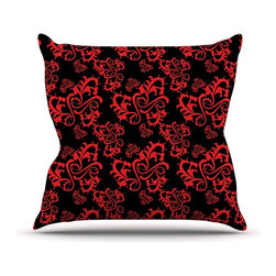 """Kess InHouse - Mydeas """"Sweetheart Damask Black & Red"""" Pattern Throw Pillow (20"""" x 20"""") - Rest among the art you love. Transform your hang out room into a hip gallery, that's also comfortable. With this pillow you can create an environment that reflects your unique style. It's amazing what a throw pillow can do to complete a room. (Kess InHouse is not responsible for pillow fighting that may occur as the result of creative stimulation)."""