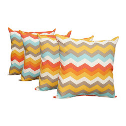 Land of Pillows - Waverly Sun N Shade Panama Wave Sunset Chevron Outdoor Throw Pillow - Set of 4, - Fabric Designer - Waverly