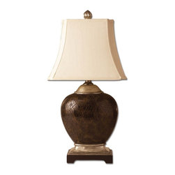 Uttermost - Uttermost Sabine Table Lamp in Polished Faux Penshell - Shown in picture: Polished Faux Penshell With Scratched Silver Accents This gorgeous faux polished penshell lamp is finished in various tones of brown with scratched silver and cast aluminum accents. The rectangle bell shade has stepped corners and is ivory woven.
