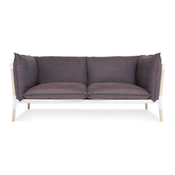 Blu Dot - Blu Dot Grotto Sofa - Down-filled back and ink-colored seat cushions are nestled into solid ash and steel frame. Designed to be appealing from all vantage points, Grotto's high back and arms provide a cozy oasis for intimate conversation and power naps.