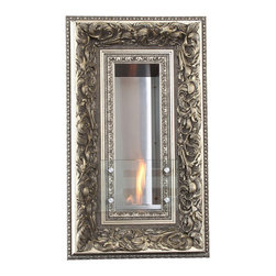 Terra Flame - Vintage Picture Frame Wall Fireplace, Charlotte - Look to this hanging fireplace for adding interest that's as pretty as a picture — and far more exciting. You'll get guests talking with both the lovely, ornate frame on the outside and the clean-burning fuel inside that's as easy to operate as a candle. Made to order.