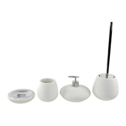 Gedy - Round 4 Piece White Bathroom Accessory Set, - Exquisite bathroom accessory set perfect for modern & contemporary designed bathrooms. This set is made in the highest quality stone and available in white. Set includes soap dish, toothbrush holder, soap dispenser, and toiletbrush holder. Manufactured in Italy from the Gedy Fiona collection. Made of white stone. From the Gedy Fiona collection. Designed and built in Italy. Included in set:. Soap dish Gedy OP11-02. Toothbrush holder Gedy OP98-02. Toiletbrush holder Gedy OP33-02. Soap dispenser Gedy OP81-02.
