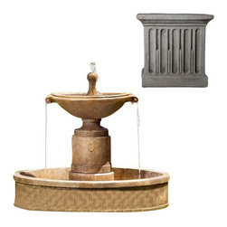 Campania International - Borghese w/Basin - Greystone (GS) - The Borghese Fountain with Basin (FT-224) from Campania International is a visually striking, classic European urn fountain. Add a bit of drama to your entrance or garden. Made of cast stone. Pump included. Weight: 490 lbs.