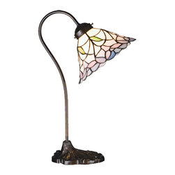 "Meyda - 18""H Daffodil Bell Desk Lamp - Elegant bell shaped linen white shades bordered withdelicate plum pink flowers are accented with tinyleaves of jade green. Each piece of stained glass inthis tiffany style shade is hand cut and wrapped incopper foil. The beautiful shade graces this desk lamp,hand finished in mahogany bronze. Bulb type: cndl bulb quantity: 1 bulb wattage: 40"