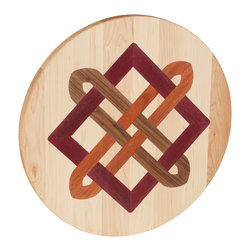 Kentucky Cutting Boards - Round Lazy Susan with Celtic Square Knot - Maple, walnut and cherry wood combine to create this American made, round Lazy Susan with a Celtic square knot inlay. Place your condiments or serving dishes on this incredibly useful tool and share the bounty without lifting a finger.
