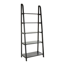 Safavieh - Safavieh Albert 72 Inch Etagere in Black - Inspired by the classic library ladder, the Albert Etagere has a contemporary A-line profile with five shelves that increase to a slim 15.9 inches at the base. Display favorite photos, keepsakes, books and more on this clean transitional piece crafted of pine in distressed black finish. What's included: Etagere (1).