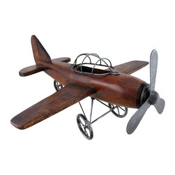 Zeckos - Wood and Metal Vintage Airplane Decorative Art Statue - Soar above the skies of your imagination with this awesome single prop airplane sculpture reminiscent of a time gone by. Made from wood and metal, this 7 inch high, 16 inch long, 14 inch wide (18 x 41 x 36 cm) airplane statue boasts a beautiful hand-stained finish bringing out the natural wood grain perfect for any shelf, tabletop or counter space in your home, office or shop It's great as a gift any aircraft enthusiast would be proud to display