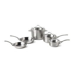 Calphalon - Calphalon Contemporary Stainless Steel 8 Piece Cookware Set - LR8A - Shop for Cookware Sets from Hayneedle.com! The Calphalon LR8A Contemporary Stainless Steel 8-Piece Cookware Set features stainless steel vessels and glass covers which bring a professional look and feel to your kitchen. This set is deigned to go from the stovetop to the oven or broiler. This set includes an eight-inch omelet pan a 10-inch omelet pan a 1.5-quart sauce pan with cover a 3.5-quart sauce pan with cover and an eight-quart stock pot with cover.Crafted from lustrous brushed stainless steel and featuring clean lines and curvaceous silhouettes Calphalon Contemporary Stainless expresses modern style and delivers the professional performance you expect from Calphalon cookware. A full aluminum core sandwiched between the stainless steel interior and exterior of each pan provides superb conductivity and even heating throughout the vessel. This design lets you enjoy extraordinary results on the stovetop in the oven and in the broiler. Handles stay cool and comfortable on the stovetop and the glass covers let you monitor the contents. Calphalon Contemporary Stainless is also dishwasher-safe for easy cleanup.Additional features:Riveted handles for durabilityRolled brushed-finish long handles stays cooler longerLoop handlesTempered-glass cover with stainless steel rim and loop handleSuitable for stovetop broiler and oven cookingLids are broiler- and oven-safe to 450 degreesAccommodates most any utensils