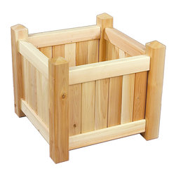 Rustic Natural Cedar - Rustic Natural Cedar 3122121 Wooden Planter Box - Add beautiful floral accents to your outdoor space with one or more of our 21'' square planter boxes. Pair the boxes with our planter benches to create modular natural Rustic cedar seating. Sturdy mortise and tenon joinery. Naturally resistant to rot and insects, cedar is a smart and attractive choice for porch and patio plantings. When left untreated, the creamy natural color weathers gracefully to a silvery grey.