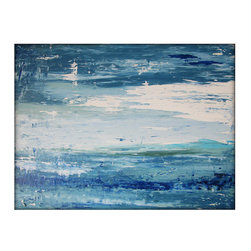 "Abstract Seascape Original Canvas Contemporary/Modern Painting, 30"" x 40"" - Dimensions: 30x40 with a profile of approx 1''"