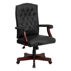 Flash Furniture - Flash Furniture Martha Washington Black Leather Executive Swivel Chair - This luxurious traditional chair is available in a black leather upholstery. Ergonomically designed for a healthy way to work this chair will provide you with ample comfort, in the office or at home. Never before has a chair this elegant and with so many features have been offered for such a low price! [801L-LF0005-BK-LEA-GG]