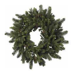 Nearly Natural - 30in. Pine & Pinecone Wreath - Sometimes, the classics are what you want. And this timeless 30' Pine & Pinecone Wreath fits that bill perfectly. With lush, soft needles of varying sizes, twisted into a delicate spiral, and adorned with classic pinecones, this wreath is exactly what every 'old time holiday' decor needs. Also makes a great gift for those who enjoy a classic touch to their holiday decorating.