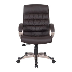 Leick Furniture - Leick Furniture Faux Leather Executive Office Chair in Deep Brown - Leick Furniture - Office Chairs - 10063DB - High backed spine support, plush seat padding and sturdy arms offer a comfortable seat in this attractive office chair design. Fully adjustable, castered for easy mobility, and complete with durable abrasion guards on the base.