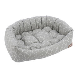 Frontgate - Halo Napper Pet Bed Dog Bed - Choose from blue, pink, green, brown, or grey. Cotton canvas features stitched white circles positions side-by-side. Great for medium-to-high traffic use. Made of high-quality upholstery fabric. Eco-friendly, hyper-allergenic fiber fill. Built with surrounding bolsters, the luxurious Halo Napper Pet Bed is filled with a high loft, eco-friendly fiber. Made of high performance soft micro denier plush velvet, the center is tufted which creates a firmer pillow for more support for your pooch.  .  .  .  .  . Machine washable, low heat tumble dry recommended . Made in the USA.