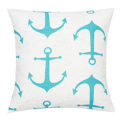 Look Here Jane, LLC - Anchors Teal Blue Pillow Cover - PILLOW COVER