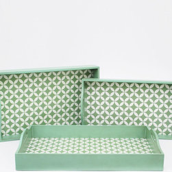 Patterned Peppermint Tray - Set of 3 - With their delicate, trendy pattern and scrumptious shade of icy green, you'll want these wood trays for everything. And luckily, they come in a set of three. Try them out for breakfast in bed, cocktail parties, a sweet centerpiece vignette, or many more.
