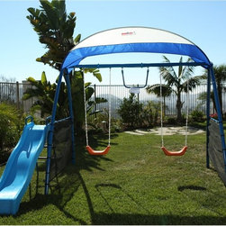 IronKids - IRONKIDS Challenge 150 Refreshing Mist Swing Set Multicolor - 8100 - Shop for Swings Slides and Gyms from Hayneedle.com! Keep kids cool and active even on super-warm summer days with the IRONKIDS Challenge 150 Refreshing Mist Swing Set. It s crowned with a durable UV-shielding sunshade that blocks harmful rays and heat - and underneath a little extra coolness comes from a cooling mist sprayer with four brass nozzles and adjustable mist volume control. It connects easily to any external water faucet or hose and includes a shut-off valve. Two contoured plastic swings have covered chains to protect little hands and a monkey bar and wave slide offer more ways to play. Burning calories building muscle strength staying hydrated and having fun - that s all included. For children age 3 to 8. Includes a manufacturer s limited lifetime warranty on the frame and six months coverage on all other components. For information call 866-924-1688.About IronKidsActive motivated positive healthy - that s the IronKids life. A division of Paradigm Health & Wellness Inc. IronKids fitness playground products get kids away from video games and computers and outside to play - thus getting a good workout developing strong muscles gaining agility and coordinating their minds and bodies.