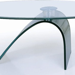"Beverly Hills Furniture - Oval Glass Cocktail Table - Curved ""C"" Base - 12mm tempered glass oval top with beveled edge. Curved ""C"" black glass base. Oversized solid steel connector joint. 26 in. W x 49 in. L x 18 in. HWith an oval tempered glass top supported by a black bent glass ""C"" shaped base, the C21 is both simple and elegant.  This cocktail table offers a futuristic look with modern functionality and would be an excellent compliment to any living space."