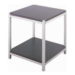 Lite Source - End Table - Stainless Steel/Dark Walnut Wood - End Table - Stainless Steel/Dark Walnut Wood