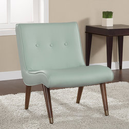 None - Mid-century Aqua Bonded Armless Chair - The simple lines and sleek styling of this chair are enhanced by metal leg caps and a button tufted back. This elegant,modern aqua blue chair is a sure winner in any home. This chair features solid wood legs with metal caps.