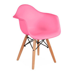 "Vertigo Interiors USA - Kids Eames Style DAW Chair, Pink - The Kid's Eames Style DAW arm chair features the iconic Eames style wooden ""dowel"" legs in a children's size with a seat height of 13 inches and an arm height of 18.5 inches. This chairs blends in with any type of dining setting. The high quality Polypropylene is easy to clean and is extremely durable."