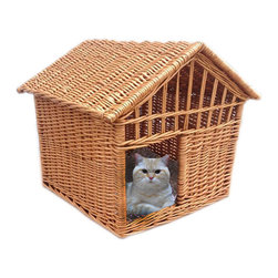 Home Bazaar Inc. - Wicker Pet Cottage - Honey - This finely hand woven pet abode is made from natural willow. Roomy and airy with a removable, slopped roof and comfy, poly fill cushion.  Perfect for dogs under 12 lbs and all types of cats.