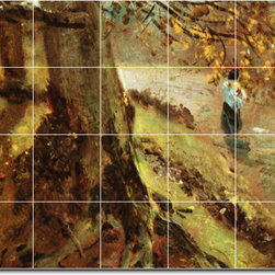 Picture-Tiles, LLC - Tree Trunks Tile Mural By John Constable - * MURAL SIZE: 48x60 inch tile mural using (20) 12x12 ceramic tiles-satin finish.