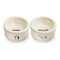 """Drink"" and ""Devour"" Dog Bowls - Set of 2 - Bold wording within and vintage line art without make the authentic form and black-and-white design of the Drink and Devour Dog Bowls feel innovative and pure. The farmhouse themes in the icons on these practical, weighty pet dishes are as appropriate for the rambling country house as for the urban apartment; either way, their inclusion is quaint and fresh."