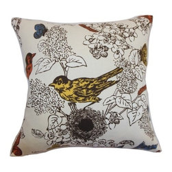 The Pillow Collection - Ouvea Birds Pillow Multi - This throw pillow will add a cheery vibe to your home with its bird print pattern. This multicolored accent pillow comes in a spectrum of hues, including: yellow, blue, red, brown and white. The print pattern makes this square pillow an interesting home accessory. This decor pillow looks great on your sofa, bed or sectionals. Combine this accent pillow with complementary colors for a unique decor style. Made from 95% cotton and 5% linen fabric. Hidden zipper closure for easy cover removal.  Knife edge finish on all four sides.  Reversible pillow with the same fabric on the back side.  Spot cleaning suggested.