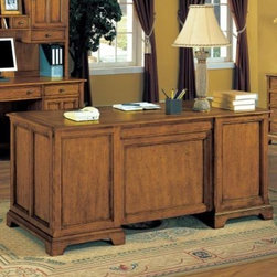 Wynwood - Wynwood Halton Hills Executive Desk in Toasted Oak - Add this Halton Hills Executive Desk by Wynwood Furnitures to your home office for the perfect place to buckle down and get work done. Set up your computer and use the drop front drawer to hold your keyboard. Stay organized with removable drawer dividers, perfect for office supplies. Keep important files close in the fully extending hanging file drawers, which accommodate both legal and letter files. A toasty oak finish and aged brass hardware add a warm and traditional feel to this functional desk. Useful on its own, or paired with a credenza and hutch for a full office look.