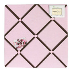 Sweet Jojo Designs - Hotel Pink & Brown Fabric Memo Board - The Hotel Pink & Brown Fabric Memo Board with button detail is a great way to display photos, notes, and postcards on your child's wall. Just slip your mementos behind the grosgrain ribbon to create an engaging piece of original wall art. This adorable memo board by Sweet Jojo Designs is the perfect accessory for the matching children's bedding set.