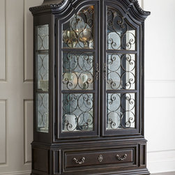 """Horchow - Perona China Cabinet - ANTIQUE BLACK - Perona China CabinetDetailsChina cabinet made of ash and cherry veneers and select hardwoods.Decorative metal grills on doors.Four adjustable glass shelves.59""""W x 19""""D x 95""""T.Imported.Boxed weight approximately 488 lbs. Please note that this item may require additional delivery and processing charges."""