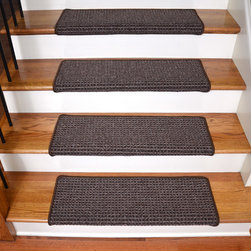 "Dean Flooring Company - Dean Peel and Stick Non-Skid Bullnose Wraparound Carpet Stair Treads 30""W, Cobbl - Bullnose Peel and Stick Wraparound Non-Skid Carpet Stair Treads!"