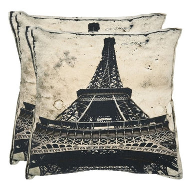Safavieh - Safavieh Paris Decorative Pillows - Sand - Set of 2 Multicolor - PIL454A-1818-SE - Shop for Pillows from Hayneedle.com! Show off your love of France and the stunning beauty of the Eiffel tower with the Safavieh Paris Decorative Pillows - Sand - Set of 2. Designed in shades of black and white these pillows are made to stand out. Available in your choice of size these throw pillows are made from 100% cotton have a hypoallergenic fiberfill insert and a secured zipper closure. Spot clean only. About SafaviehConsidered the authority on fine quality craftsmanship and style since their inception in 1914 Safavieh is most successful in the home furnishings industry thanks to their talent for combining high tech with high touch. For four generations the family behind the Safavieh brand has dedicated its talents and resources to providing uncompromising quality. They hold the durability beauty and artistry of their handmade rugs well-crafted furniture and decorative accents in the highest regard. That's why they focus their efforts on developing the highest quality products to suit the broadest range of budgets. Their mission is perpetuate the interior furnishings craft and lead with innovation while preserving centuries-old traditions in categories from antique reproductions to fashion-forward contemporary trends.