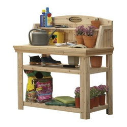 Suncast Cedar Potting Table - Sometimes you just need your own special place to pot those blooming beauties, and this potting bench fits the bill perfectly.